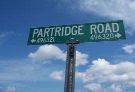 Picture of the Partridge Road sign.